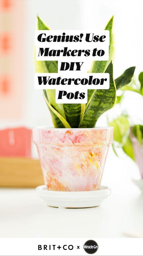 Genius! Use Markers to DIY Watercolor Pots