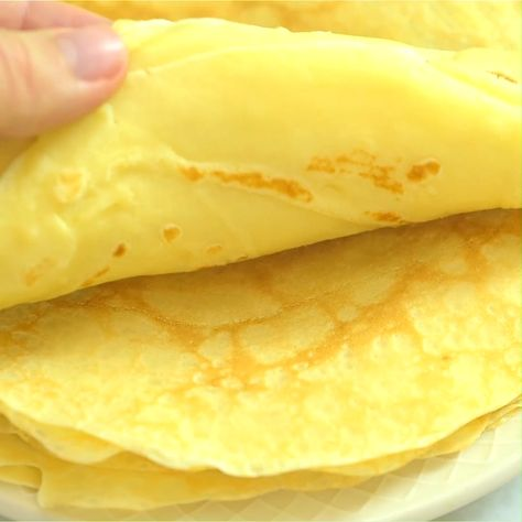 This is a simple, foolproof, and tasty Sweet Crepes recipe. Follow my step-by-step photos or video instructions to make this scrumptious treat at home.I make these Sweet Crepes for breakfast every Sunday. They are so easy to make (Yes, EASY!) and so versatile. #crepes #breakfast #lunch #brunch #eggs #recipeoftheday