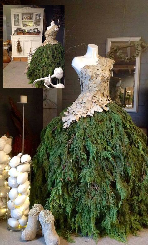 Try on something new this holiday season with an evergreen Christmas tree dress, an elegant and creative alternative to a Christmas tree.