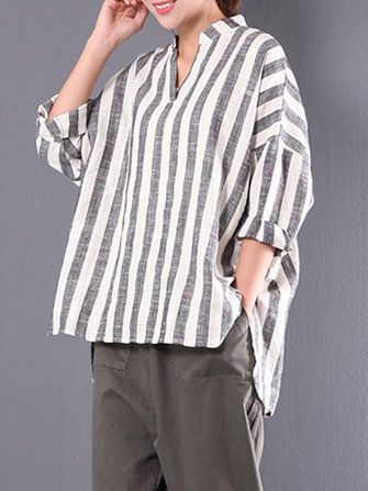 Women Casual Solid Color Striped V-Neck Long Sleeve Oversized Tops Blouses Shirt