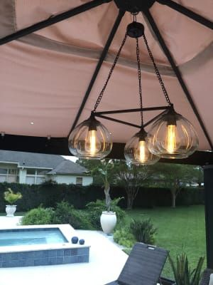 Wilson Fisher Edison Bulb Trio Battery Operated Chandelier With Remote Big Lots Battery Operated Chandelier Outdoor Umbrella Lights Outdoor Chandelier