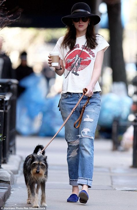 Walkies: Over the weekend the Fifty Shades Of Grey actress was seen taking her beloved pooch Zeppelin for a walk around her neighbourhoo