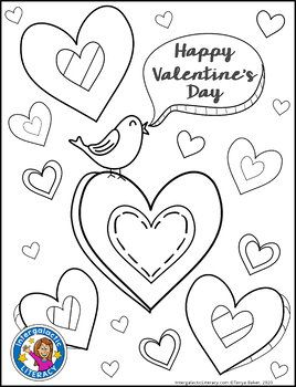 Valentine S Day Coloring And Cards Freebie By Intergalactic Literacy Valentines Day Drawing Valentine Coloring Pages Valentines Day Coloring