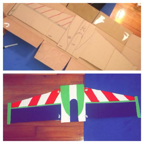 #DIY Buzz Lightyear wings! I made these out of an empty cardboard box and painted them, and then added elastic so I could wear them! #BuzzLightyear