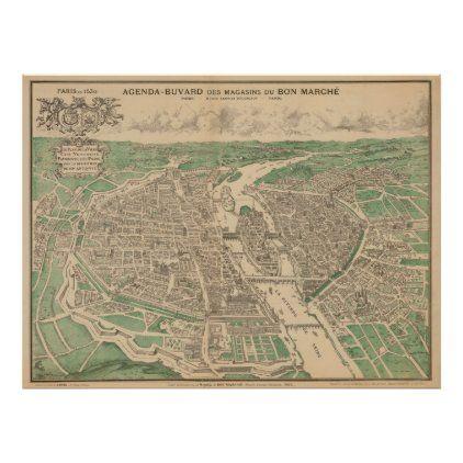 Vintage Pictorial Map Of Paris France 1890 Poster Zazzle Com In 2020 Paris Map Pictorial Maps Vintage Maps