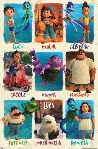 Disney Pixar Luca Grid Poster Art Com In 2021 Disney Pixar Disney Art Disney Wallpaper