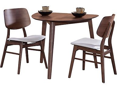 Oscar Walnut 3 Piece Dining Set Large 3 Piece Dining Set Traditional Dining Room Table Furniture