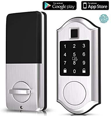 Narpult Fingerprint Smart Lock Keyless Entry Door Lock Electronic Deadbolt Door Lock Bluetooth Key In 2020 Electronic Deadbolt Alexa Device Keyless Entry Door Locks