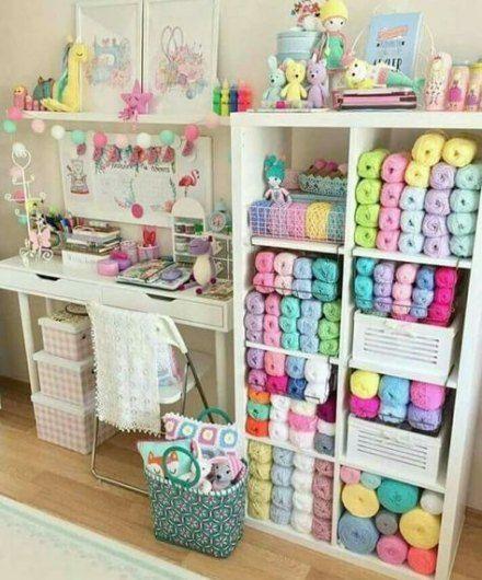 40 Ideas Craft Room Organization Yarn Ideas Craft Fabrication De Rangements Idee Rangement Idee Deco Bureau