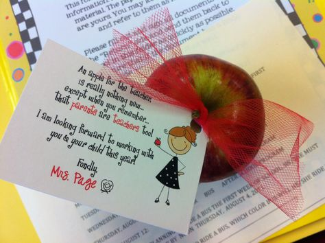"""an apple for the teacher is really nothing new, except when you remember that parents are teachers too"" -wonderful parent orientation idea!"