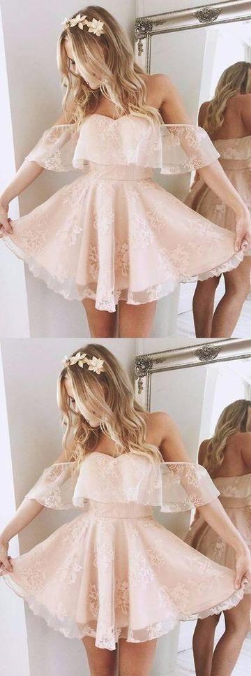 Cute Off Shoulder Lace Short Homecoming Dresses Online, Unique Homecoming Dresses, PD0026