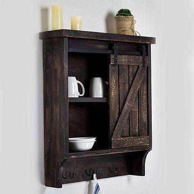 Dark Wood Barn Door Wall Cabinet With Hooks Wood In 2020 Wood Barn Door Wall Storage Cabinets Bathroom Wall Cabinets