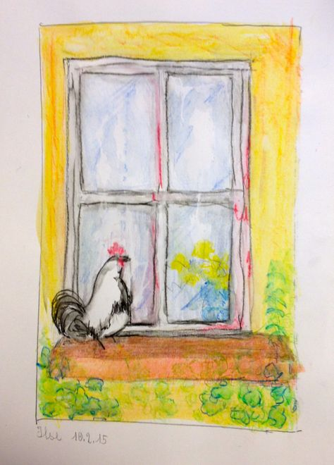 Ilse Fenster Zum Hof Zeichnung Bleistift Und Aquarellstifte