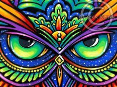 Items similar to Psychedelic Rainbow Owl Trippy Hippie Owleister Signed PRINT on Etsy