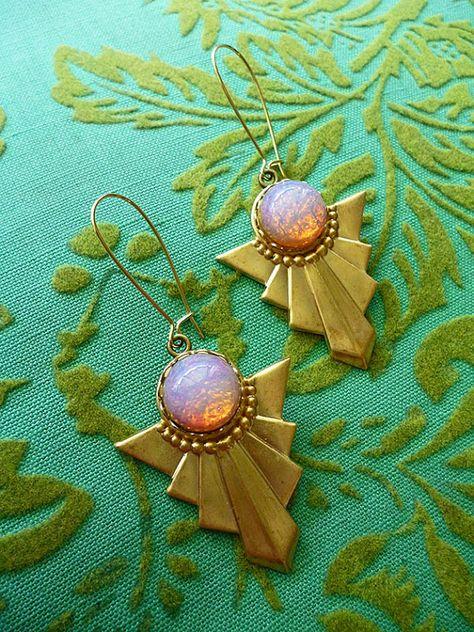 Green Polymer beads on kidney wire earrings # 146