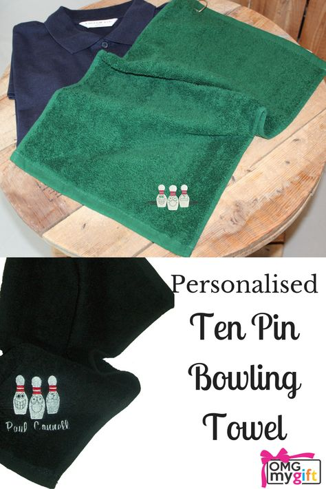 Personalised embroidered Lawn bowls// Bowling towel ideal gift
