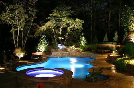 54 Gorgeous Night Yard Landscape Lighting Design Ideas Swimming