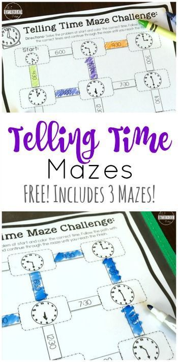 Free Telling Time Mazes Printable Math Games Kindergarten