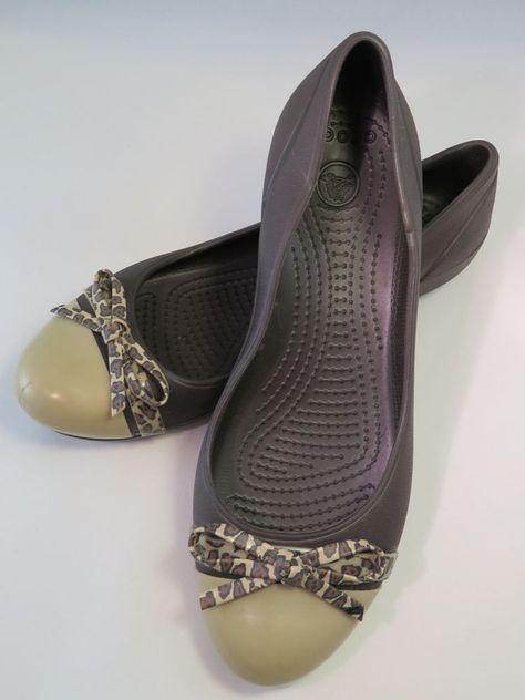 Crocs Womens Cap Toe Leopard Print Flat