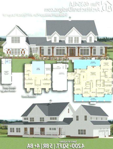 Architectural Designs Farmhouse Plan 46354la Gives You 5 Bedrooms 4 Baths And Dreamhouse Farmhouse Plans Architecture Design House Styles