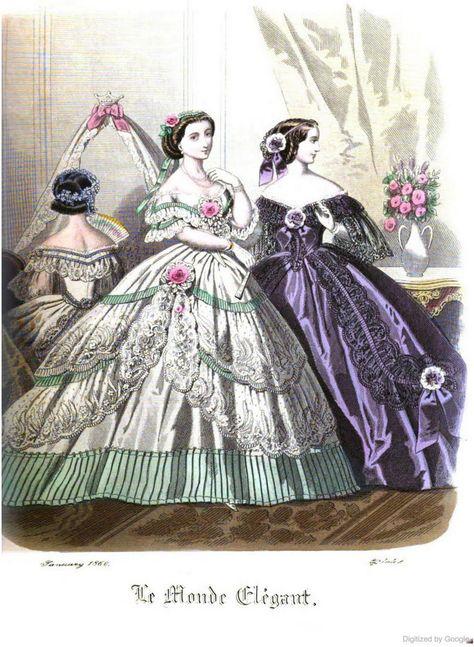 Abiti Da Sera 1860.Le Monde Elegant 1860 January Storia Della Moda Disegni Di Moda