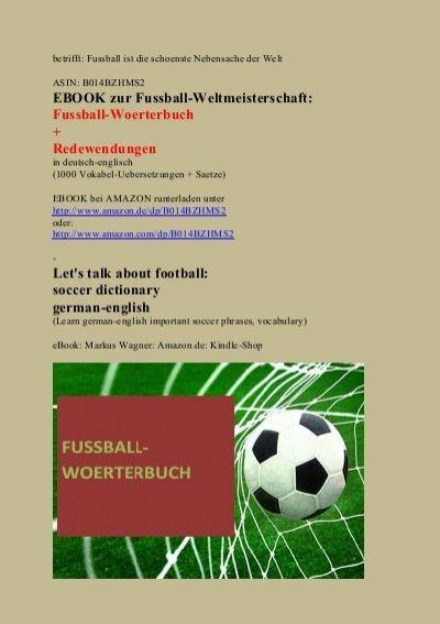 Etrifft Fussball Ist Die Schoenste Nebensache Der Welt Asin B014bzhms2 Ebook Zur Fussball Weltmeisterschaft Fu Deutsch Lernen Englisch Worterbuch Worterbuch