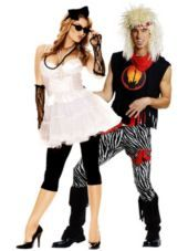 80's Pop Queen and 80's Rock God Couples Costumes-Party City