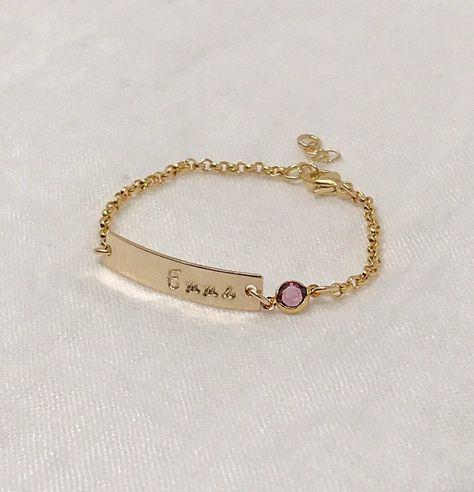 Newborn baby birthstone bracelet - Childs personalized name bracelet - Baby name bracelet - Children's jewelry - Baby