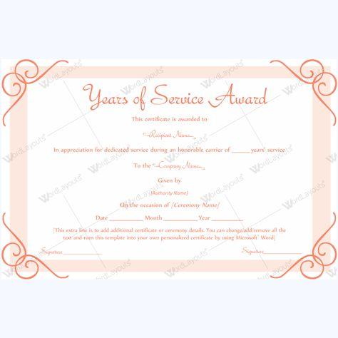 13 best Years of Service Award images on Pinterest Award - certificate of service template