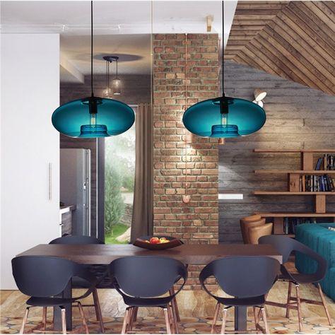 Suspension Verre Bleu D40cm Luminaire Pour Cuisine Restaurant
