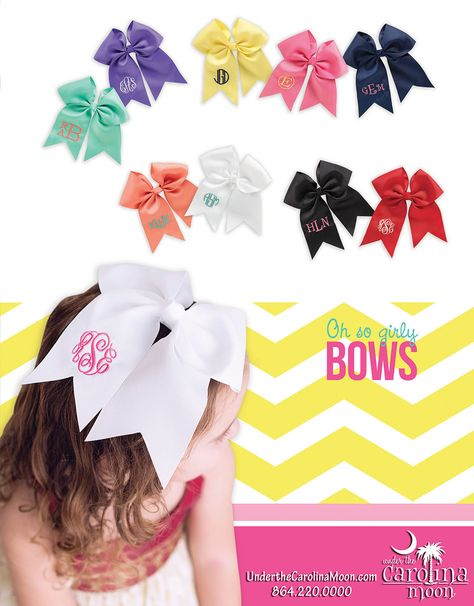 Have the cutest hairbows around! Place your order at www.underthecarolinamoon.com  #UTCM #UnderTheCarolinaMoon #hairbows #monogramhairbow