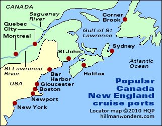 Map New England Canada Canada / New England cruises   Page two   Tips by Howard Hillman