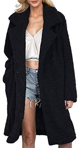 Jofemuho Womens Fluffy Autumn Winter Solid Color Faux Fur Cardigan Coat Outerwear White M