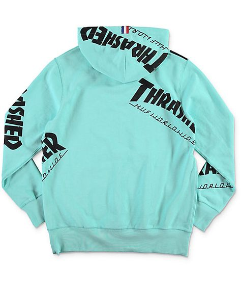 540a8529d34c HUF x Thrasher TDS Allover Mint Hoodie