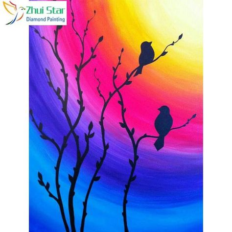 5D Diamond Painting Bird Silhouette Rainbow Sky Kit Offered by Bonanza Marketplace. www.BonanzaMarketplace.com #diamondpainting #5ddiamondpainting #paintwithdiamonds #disneydiamondpainting #dazzlingdiamondpainting #paintingwithdiamonds #Londonislovinit