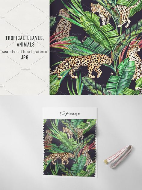 Tropical leaves,animals pattern