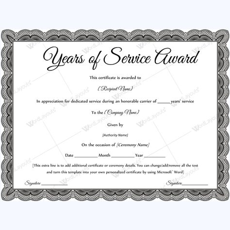 Sample Of Years Of Service Award #awardcertificate #certificate - award of excellence certificate template