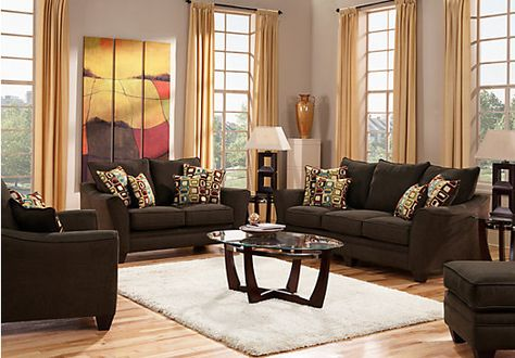 picture of Santa Monica Brown 7Pc Classic Living Room from Living ...