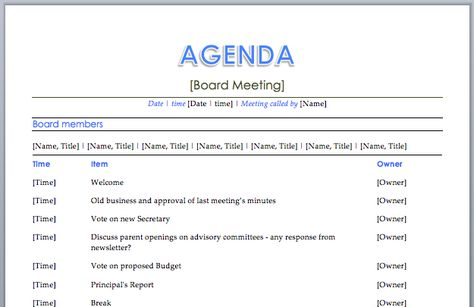Informal Meeting Agenda Template V10 AGENDAS Pinterest - board meeting agenda template