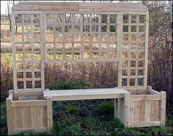 garden bench planter box. great structure for the garden - bench flower boxes and trellis in one planter box