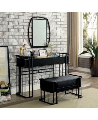 Metal Vanity Set Laminate Top Table Dresser Grey Seat Mirror Shelf New 2-Piece