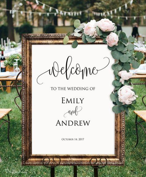 Welcome Wedding Sign, Elegant Calligraphy Wedding Reception Sign, Wedding Welcome Sign Template, Edi