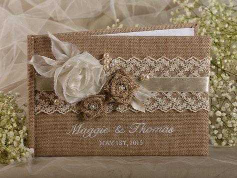 Noms de broderie, couleurs personnalisées, dentelle, toile de jute mariage livre d'or, livre d'or rustique, Shabby Chic Burlap Album Photo