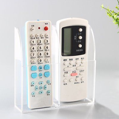 2 Remote Control Holder Tv Acrylic Storage Organiser Wall Mounted Tidy Caddy Uk Remote Control Holder Remote Control Remote Control Storage