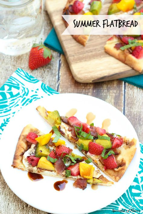 Summer Flatbread with Strawberries, Mango, Avocado, Bacon and Goat Cheese