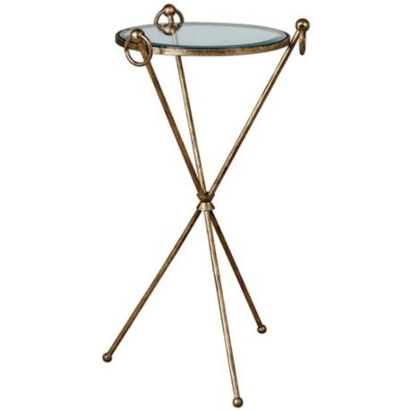 Uttermost Davke Antique Gold Leaf Accent Table Glass Accent