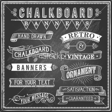 Vintage Chalkboard Banners Royalty Free Stock Vector Art Illustration
