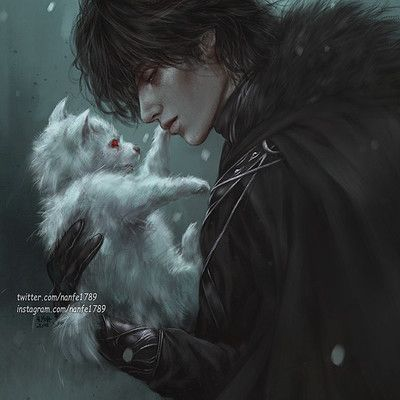"nanfe: "" ""Bran thought it curious that this pup alone would have opened his eyes while the others were still blind"" Jon Snow and Ghost from ""A Game of Thrones"", A Song of Ice and Fire"" series. Dark Fantasy Art, Fantasy Artwork, Fantasy World, Dark Art, Art Manga, Anime Art, Jon Schnee, Arte Game Of Thrones, Game Of Thrones Ghost"