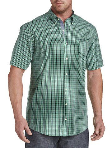 e4e1ba12872 Nautica Out Rolling Green Plaid Sport Shirt button-down collar chest pocket  with embroidered logo chambray placket back side pleats shirttail hem 100  cotton ...