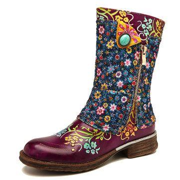 Leather Shoes Nur Fur Dich 325068 Newchic Mobile Flache Stiefel Lederstiefel Bunte Schuhe